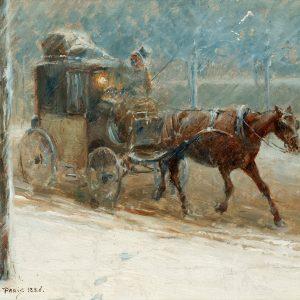 Vintrig boulevardscen med hästdroska Painting by Nils Kreuger