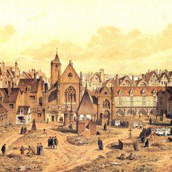 Engraving depicting the Saints Innocents cemetery in Paris by Theodor Hoffbauer