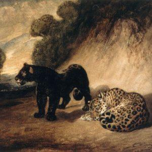 Two Jaguars from Peru Painting by Antoine-Louis Barye