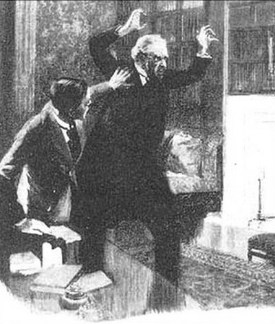 Sherlock Holmes The Creeping Man he shook his two hands at us with furious passion