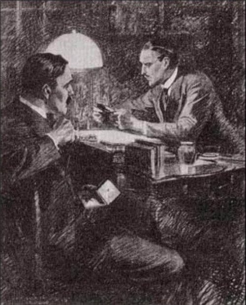 Sherlock Holmes The Illustrious Client He seated himself at his desk, pulled over the lamp, for it was growing dark, and set himself to examine it
