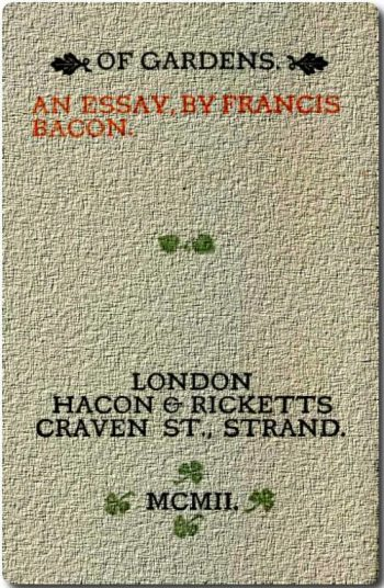 project gutenberg bacon essays Lecture 1 - the origins of the essay: montaigne and bacon a new literary genre this week, we will focus the essays of michel de montaigne and francis bacon.
