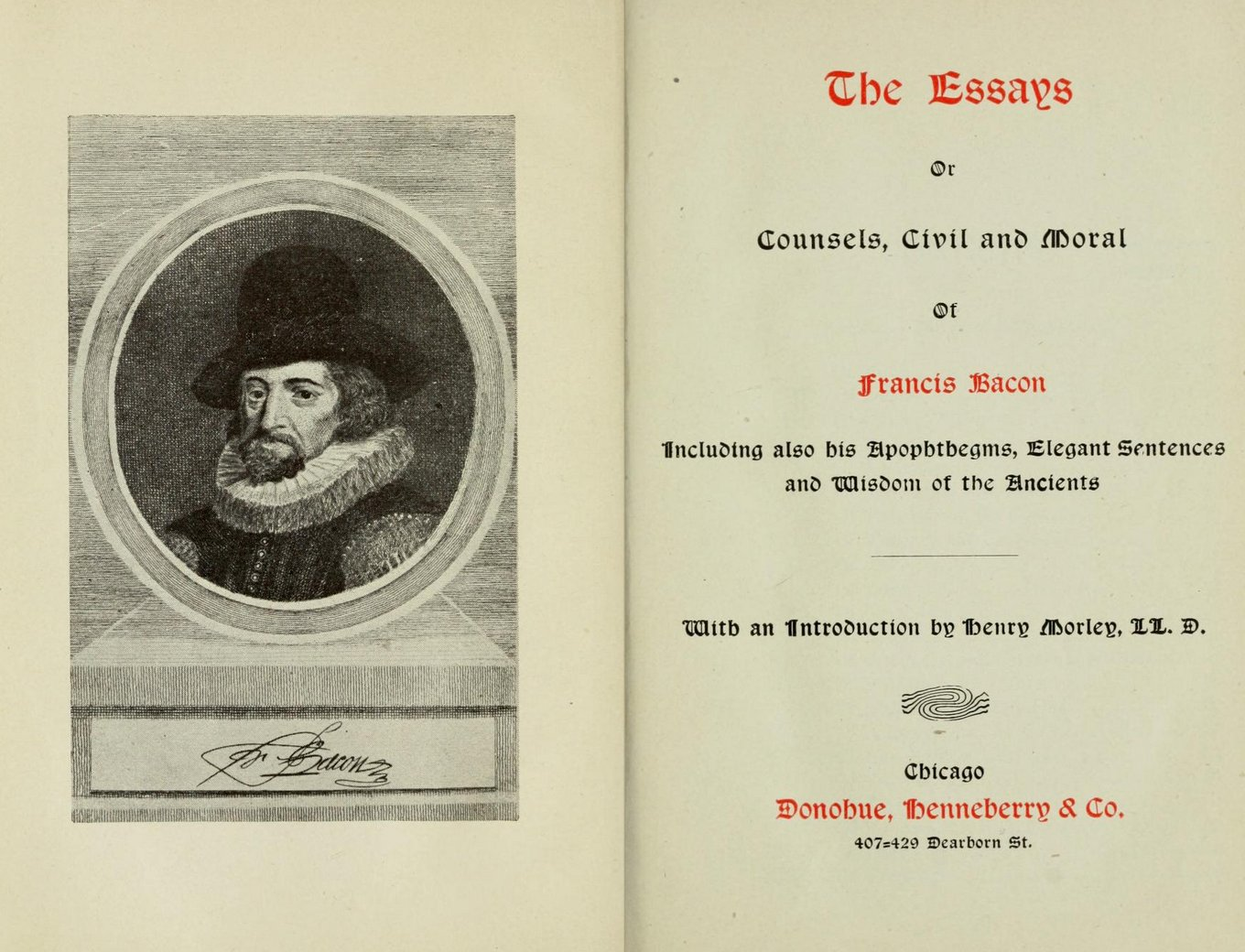 sir francis bacon selected essays Title: the essays of francis bacon author: francis bacon, mary augusta scott created date: 9/10/2008 4:56:28 pm.